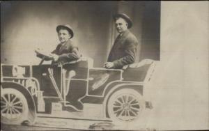 Men in Studio Prop Automobile Car Dempsie Photo Minneapolis MN RPPC c1910