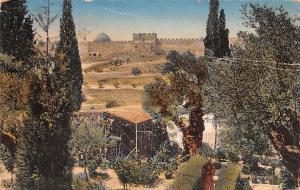 Israel Old Vintage Antique Post Card Jerusalem Garden of Gehsemane Postal Use...