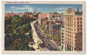 P224 JL postcard boston mass 1930-45 cars signs tremont st