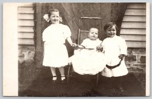Real Photo Postcard~Victorian Children~5 Year Big Sis~3 Year Bro~Baby in Buggy