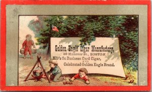 BOSTON , MA - GOLDEN EAGLE CIGAR - CHILDREN CAMPING COOKING - Trade Card