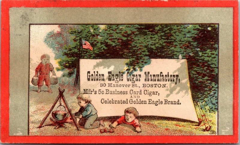 BOSTON , MA - GOLDEN EAGLE CIGAR - CHILDREN CAMPING COOKING - Trade Card