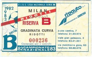 69690  - Vecchio  BIGLIETTO PARTITA CALCIO - 1982 / 1983 : MILAN /  VERONA