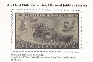 King Edward VII Horse Coach Stamp Auckland New Zealand 1982 FDC Postcard