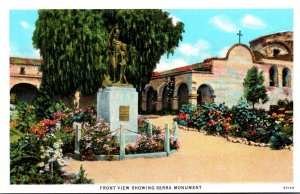 California Mission San Juan Capistrano Front View Showing Serra Monument