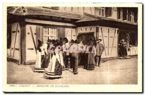 Old Postcard Hoerdt From Drinkers Group Folklore suit