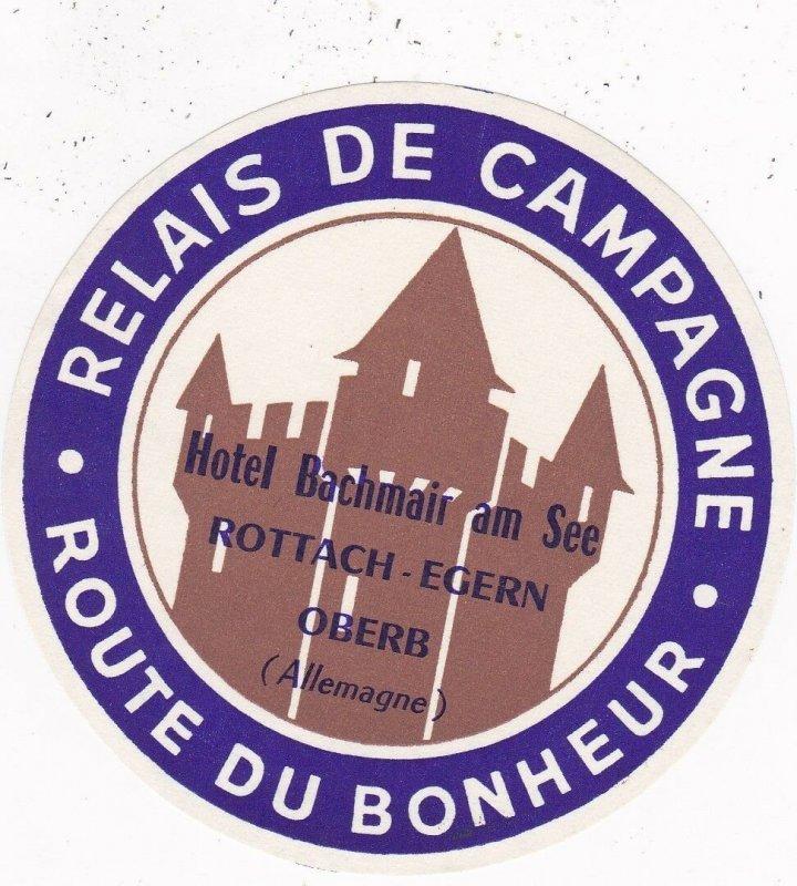 Germany Rottach-Egern Route Du Bonheur Vintage Luggage Label sk3201