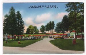 Ever Green Court Motel Asheville North Carolina postcard