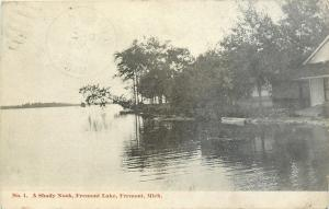 Fremont Michigan~Home at Water's Edge~A Shady Nook on Lake 1908 B&W