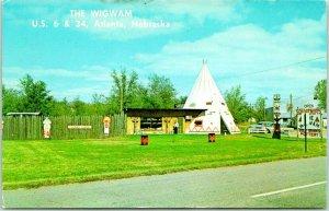 ATLANTA, Nebraska Postcard THE WIGWAM MOTEL Highway 6 / 34 Roadside Tepee c1960s