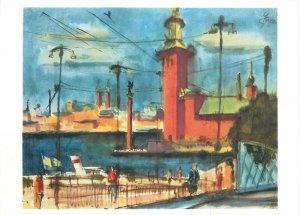 Painting drawing postcard Gerhard Stengel Stockholm town hall
