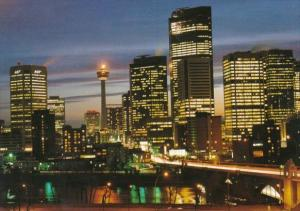 Canada Calgary Tower Against Night Skyline Calgary Alberta
