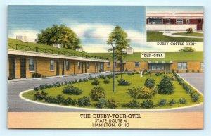 Postcard OH Hamilton The Durby Tour Otel & Coffee Shop Vintage Linen I11