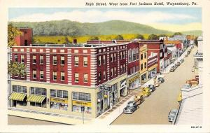 Waynesburg Pennsylvania~High Street~Fort Johnson Hotel~Drug Store~Shops~1939 PC