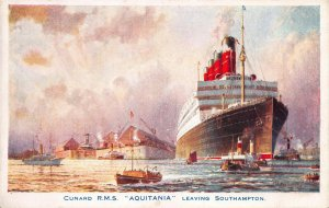 Cunard R.M.S. Aquitania Leaving Southampton, England, Early Postcard, Unused