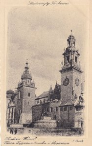 Krakow Town Hall Antique Miedzioryt Polish Postcard