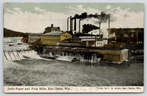 Eau Claire Wisconsin~Dells Paper & Pulp Mill~Chippewa River~Smokestacks~c1910