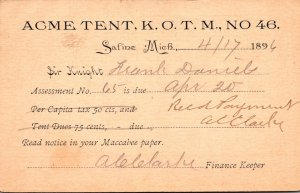 Michigan Safine Acme Tent K O T M No 46 1896
