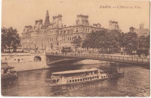France, PARIS, L'Hotel de Ville, unused Postcard