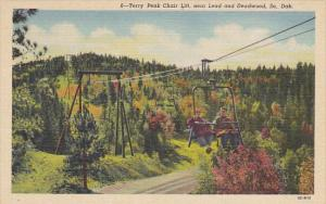 Terry Peak Ski Chair Lift Near Lead and Deadwood South Dakota Curteich
