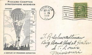 1933 Chicago IL Exposition Piccard-Compton Baloon Stratosphere Acension Postcard