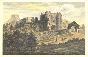 Isle of Wight Art Postcard, Carisbrooke Castle (1823) by G. Brannon FM8