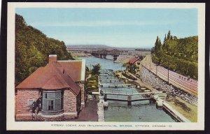 P1533 vintage unused postcard rideau locks, bridge train tracks ottawa canada