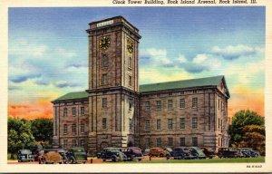 Illinois Rock Island Arsenal Clock Tower Building Curteich