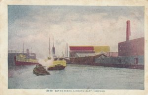 CHICAGO , Illinois , 1900-10s ; River Scene, Looking East