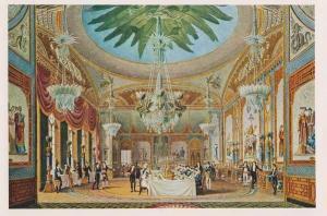Brighton Sussex Pavillion Banqueting Room Art Artist Painting Drawing Postcard