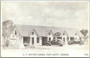 Fort Scott, Kansas Postcard C.T. POTTER CABINS Mobilegas Sign Roadside c1940s