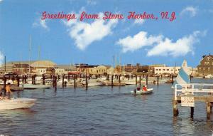 Stone Harbor NJ~Municipal Marina~SLOW No Wake Police Dept~Speed Boats~1960s PC