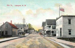 Lakeport NH Elm Street Storefronts Locke's Grocery Store Postcard