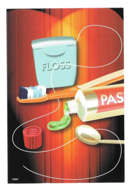 Modern Dental Advert Toothpaste Tooth Brush Floss Postcard