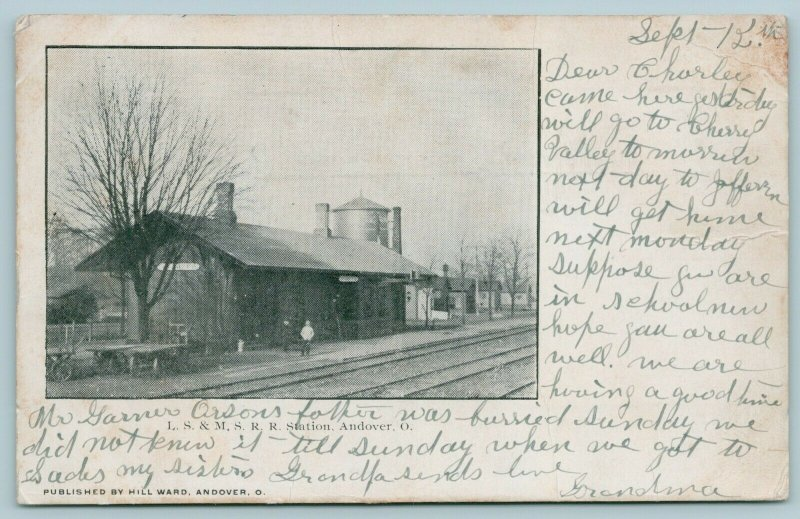 Andover Ohio~LS&MS RR Station~Train Depot~Water Tank~Homes~1906 B&W Postcard