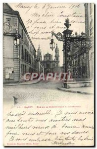 Old Postcard Nancy Rue De La Constitution and Cathedrale