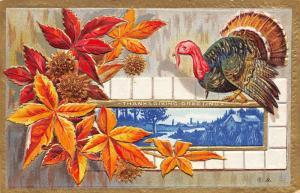 Thanksgiving~Red Orange Autumn Leaves~Turkey on Farm Scene~Gold Emboss~NASH 1908