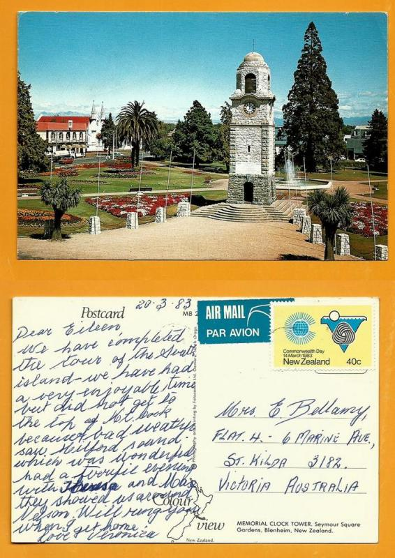 NEW ZEALAND POSTCARD-STAMP-BLENHEIM-SEYMOUR SQUARE
