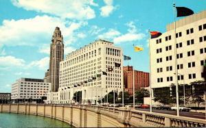 Ohio Columbus Avenue Of Flags From Town Street Bridge
