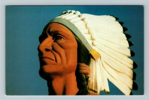 Montpelier IN- Indiana, Chief Larry Godfroy, Memorial, Statue, Chrome Postcard