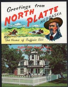 (2) Nebraska NORTH PLATTE Buffalo Bill's Original Home Greetings from - Chrome