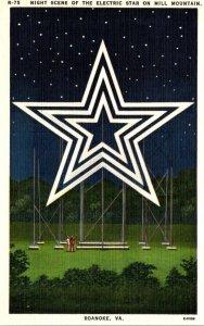 Virginia Roanoke Night Scene Of The Electric Star On Mill Mountain