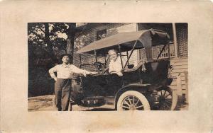 D41/ Early Automobile Car Auto Real Photo RPPC Postcard c1910 Man Woman Home 19