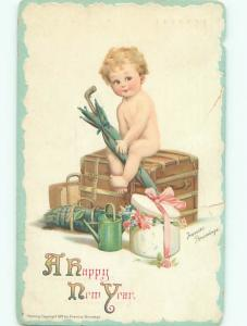 Pre-Linen New Year signed FRANCES BRUNDAGE - CUPID SITTING ON TRUNK AB2560