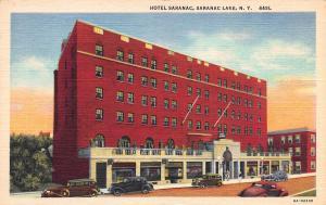 Hotel Saranac, Saranac Lake, N.Y. Early Linen Postcard, Unused