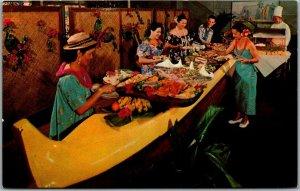 Kailua-Kona HI Postcard KONA INN Outrigger Buffet Restaurant Curteich Chrome