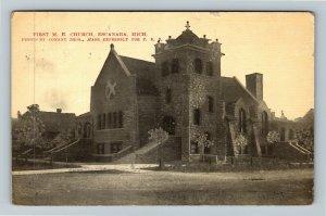 Escanaba MI-Michigan, First M.E. Stone Church, Bell Tower, Vintage Postcard