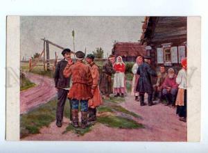 224671 RUSSIA BALUNIN Village gathering Luban #30 old postcard