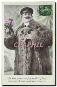 Postcard Old Man Fancy Fur