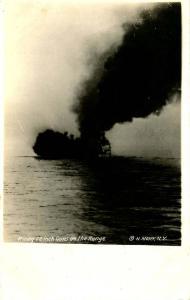 USS New Hampshire, 1916, Firing 12-inch guns on the range - RPPC